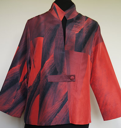 Short Shirt Jacket, pattern Red Amaryllis, size S
