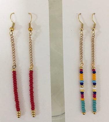 Long Chain Beaded Earrings