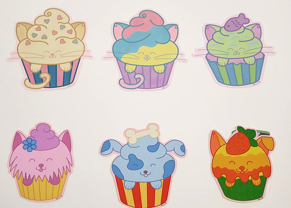 Cat and Dog Cake Assorted Stickers