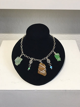 Wire Wrapped Multi Sea Glass Necklace