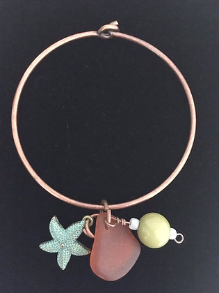 Sea Glass and Starfish Pendant Bracelet