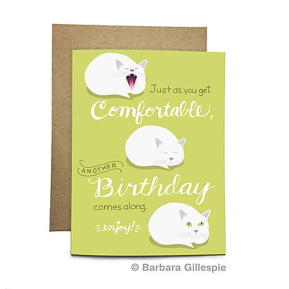 Comfortable Cat Birthday Card