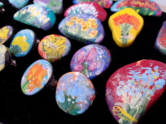 Hand Painted Flower Pins