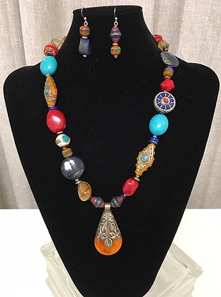 Copal Amber, Lapis, Coral and Turquoise Necklace and Earrings