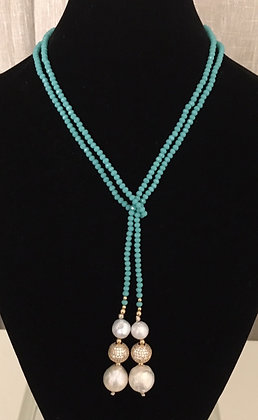 Turquoise Crystals, Fresh Water Pearls, and 14K Gold Beads Laureate