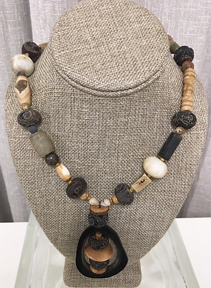 Horn, Batick Resin, Wood, Jade and Agate Necklace