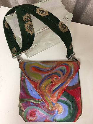Hand Painted Abstract Circle Handbag