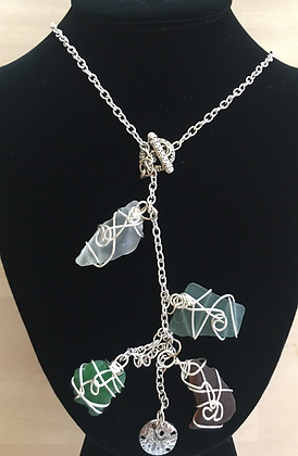Long Wire Wrapped Sea Glass Necklace