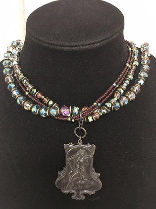 Art Nouveau Pendant and Crystals  Necklace