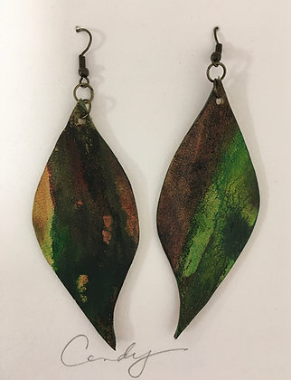 Hand Painted Leather Earrings