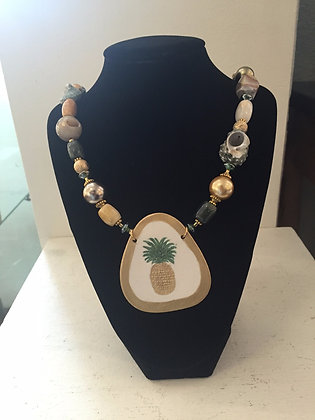 Hand Painted Porcelain and Agate Necklace