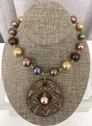 Kazuri Pendant and Dipped Pearls Necklace