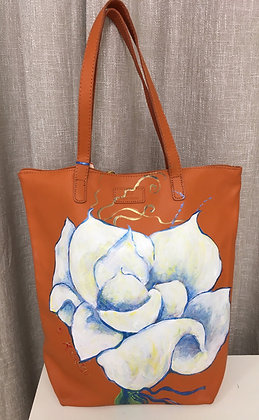 White Flower Hand Painted Bag