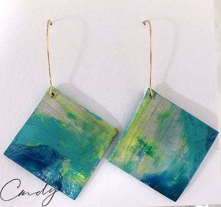 Hand-painted on Leather Earrings