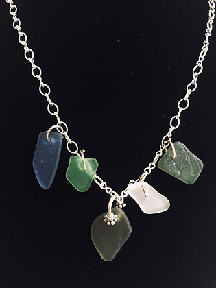 Five Wire Wrapped Sea Glass Necklace