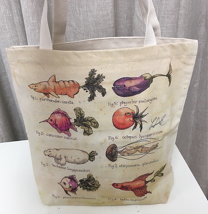 Veggie/Fish and Mammal Canvas Tote Bag