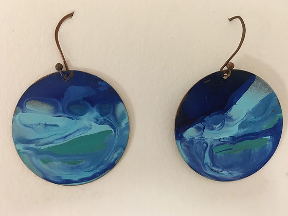 Copper and Patina Paint Earrings