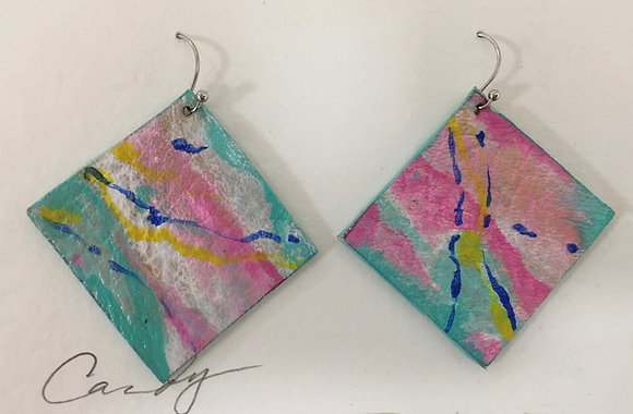 Hand Painted Tropical Colors on Leather Earrings