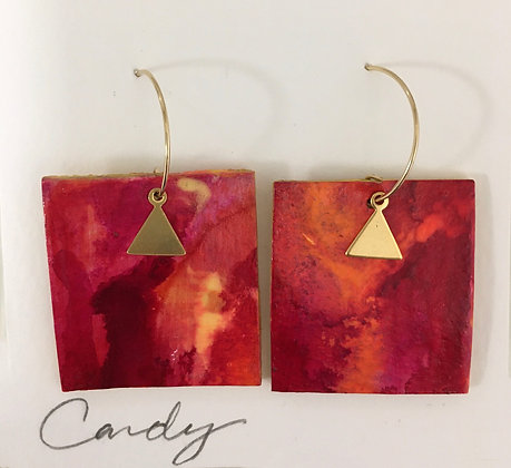 Hand Painted Red Leather Earrings