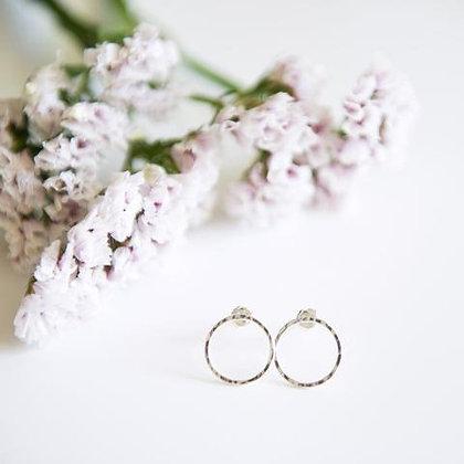 Open Circle Silver Earrings