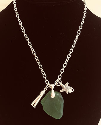 Sea Glass with Charms Necklace