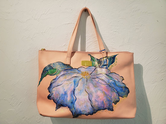 Violet Flower Hand Painted Bag