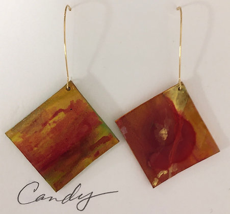 Hand Painted Rusty Red Leather Earrings