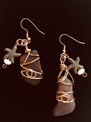 Wire Wrapped Sea Glass and Starfish Earrings