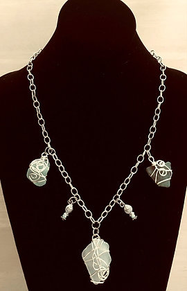 Wire Wrapped Sea Glass and Fish Charms Necklace