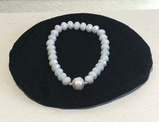 Glass Crystal and Freshwater Pearl Bracelet