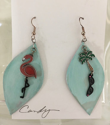 Tropical Charms on Hand Painted Leather Earrings