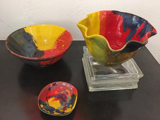 Multi-Colored Stoneware Pottery