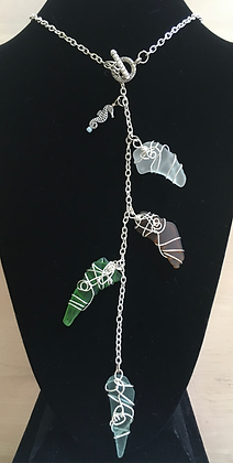 Multi Wire Wrapped Sea Glass Necklace