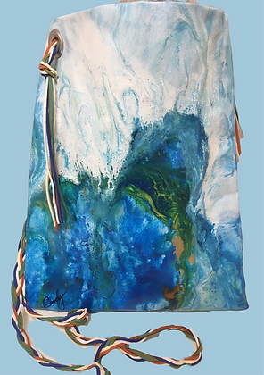 Blue and White Abstract Handbag