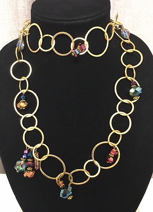 Gold Links and Iridescent Glass Necklace