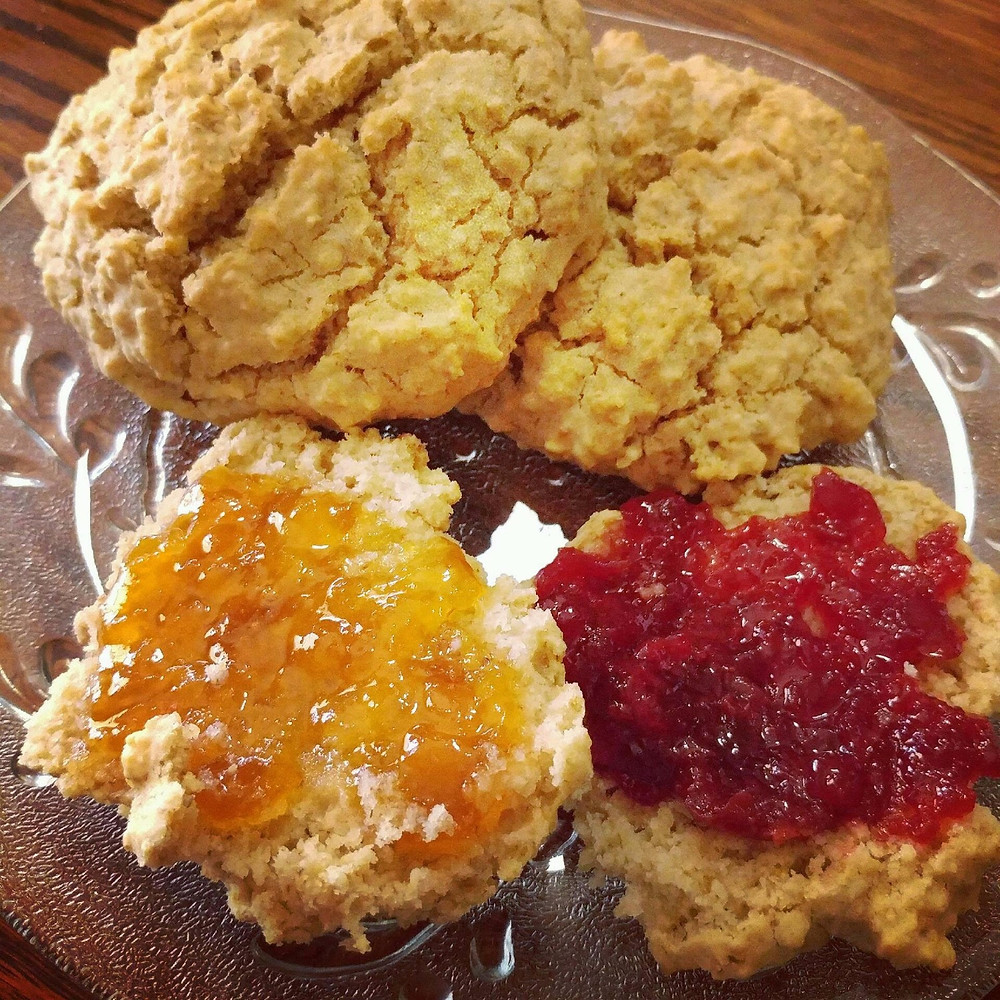 Mom's Fluffy Biscuits with peach and cherry jam