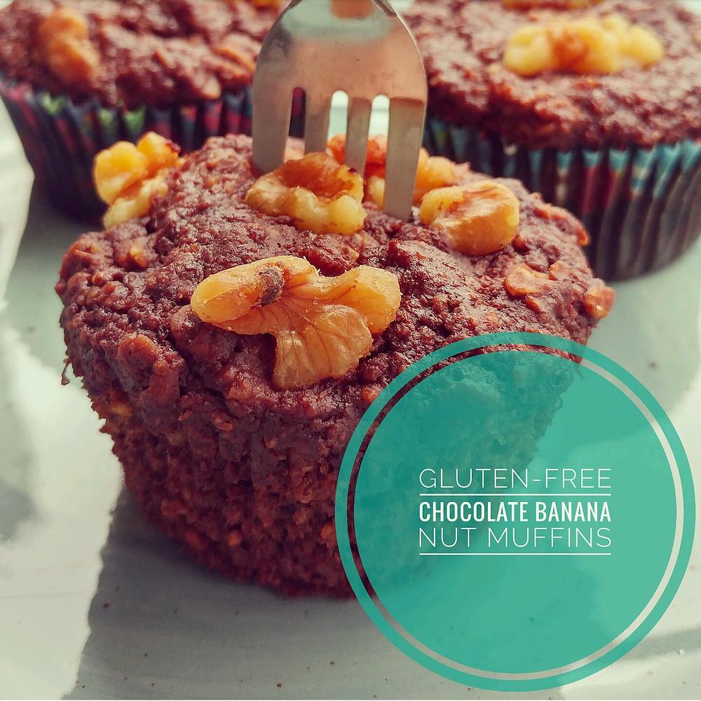 Gluten-free chocolate banana nut muffins