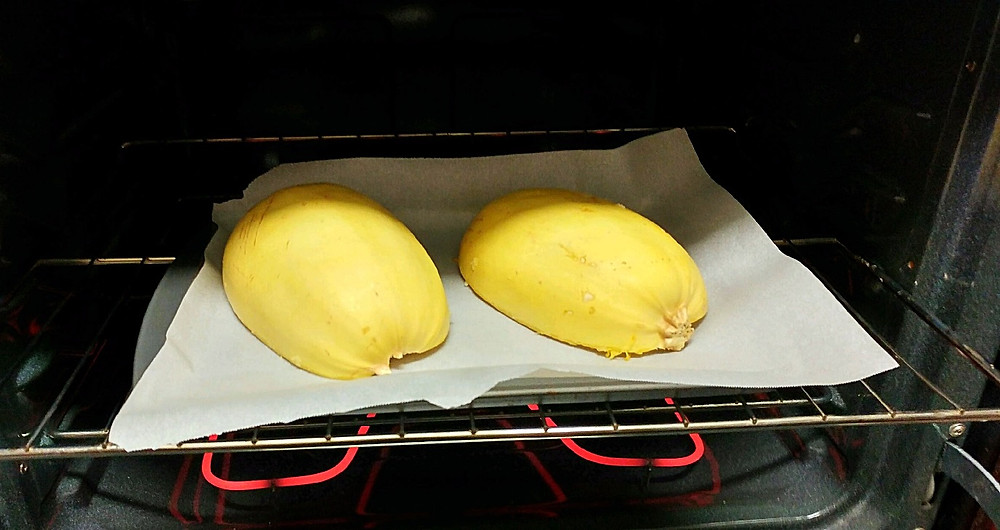 Baking the spaghetti squash