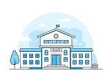 school-building-modern-thin-line-design-