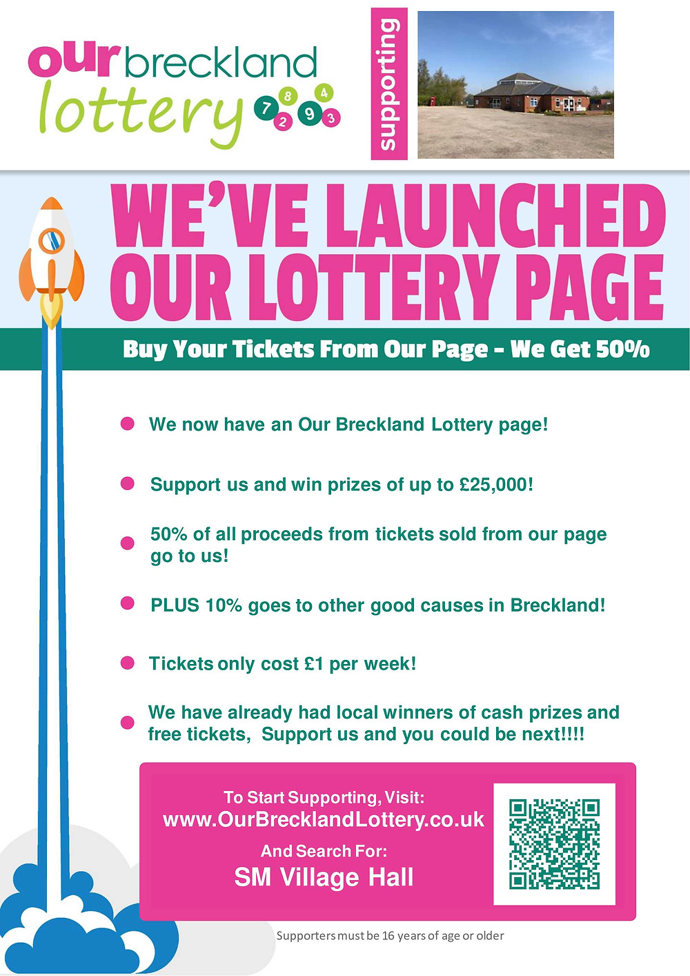 Lottery launch poster for Swanton Morley Village Hall