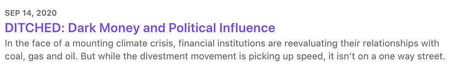 DITCHED: Dark Money and Political Influence