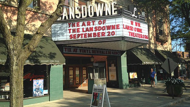The Lansdowne Theater marquee promotes a Sept. 20th fundraiser. Photo by Cherri Gregg)