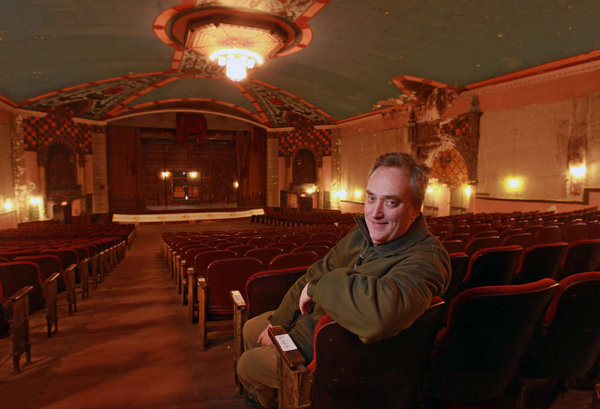 Matthew Schultz heads a nonprofit that hopes to restore the Lansdowne Theater as a concert venue. (MICHAEL BRYANT / Staff Photographer)