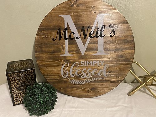 Simply Blessed Family Sign