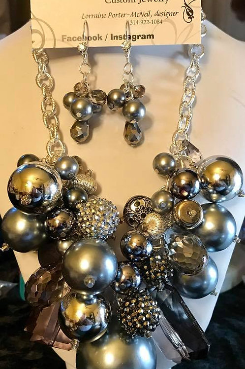 Grey and Silver Pearl Cluster set