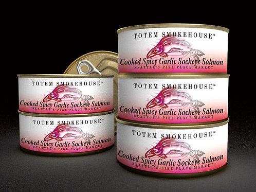 6-3.5 oz Cooked Spicy Garlic Sockeye Salmon