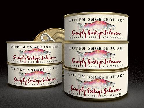 6-3.5 oz Simply Sockeye No Salt Cooked Wild Salmon