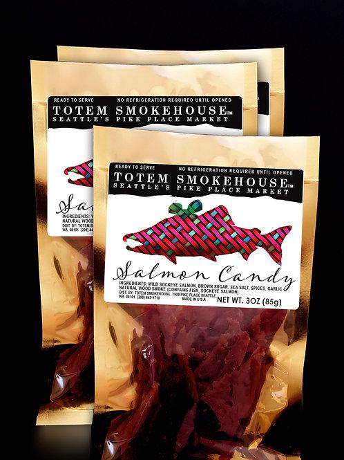 3-3 oz Wild Sockeye Salmon Candy