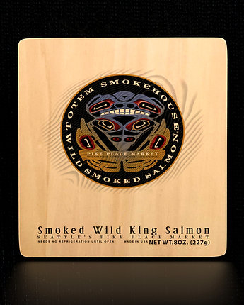 8 oz Smoked Wild King Salmon Wood Gift Box