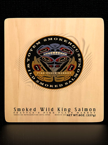 8 oz Smoked Wild King Salmon Wood Gift Box
